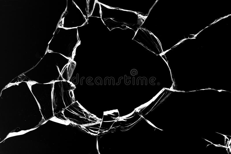 黑色玻璃漏洞射击 免版税库存照片