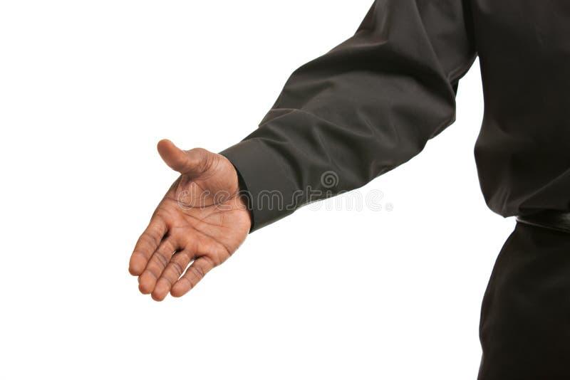 黑色生意人姿态信号交换 免版税库存图片