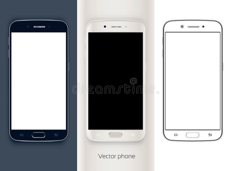 黑色电池查出的电话 黑屏 移动技术 新的电话 例证电话 库存例证