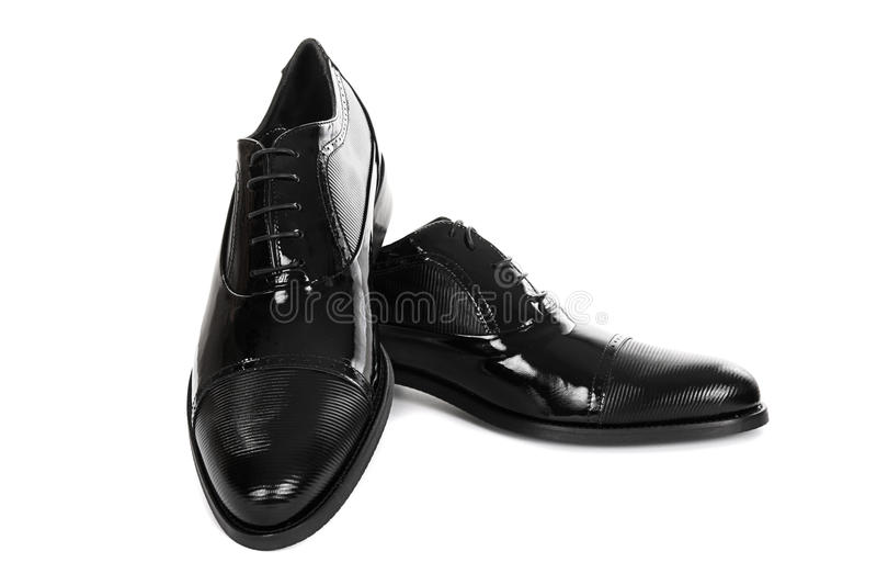 黑色男性新的鞋子 免版税库存照片
