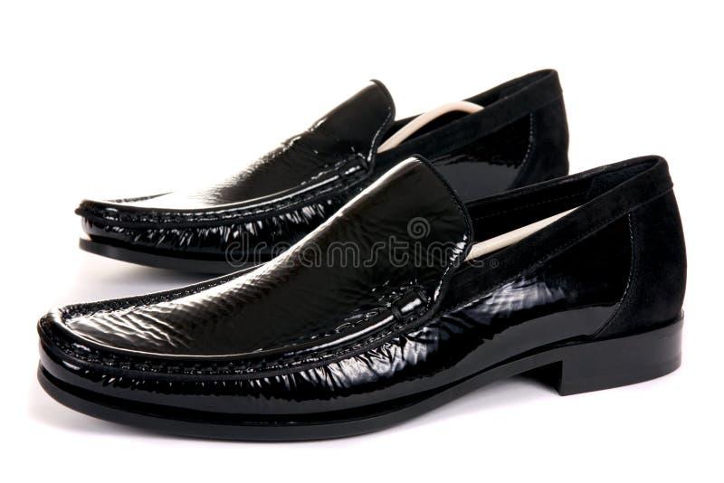 黑色男性现代鞋子 库存图片