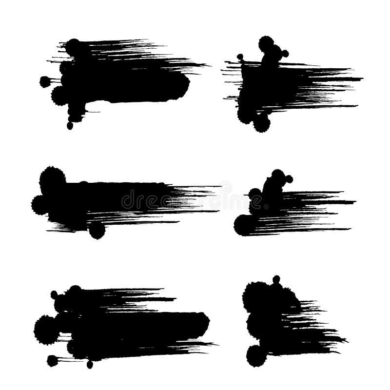 黑色画笔冲程 库存例证