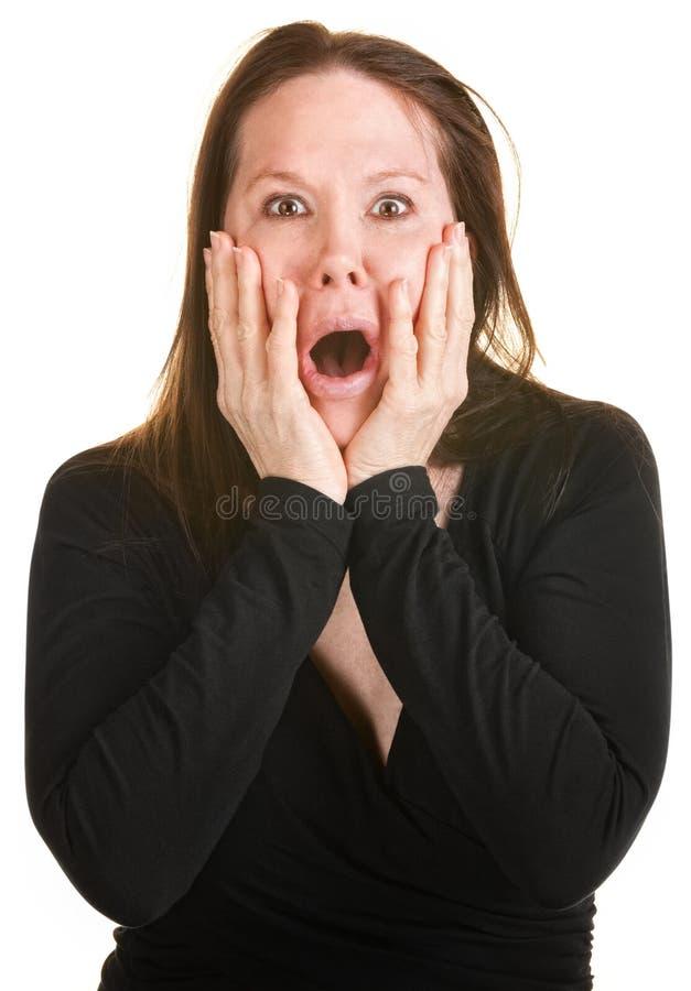 黑色的害怕的妇女 免版税库存照片