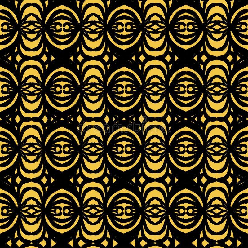 黑色的抽象装饰品在金黄背景的 库存例证