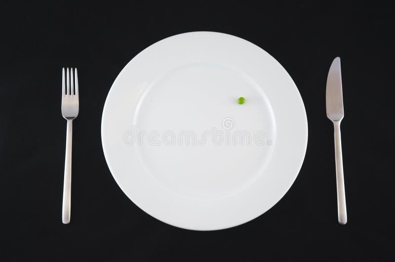 黑色的盘子白色 免版税库存图片