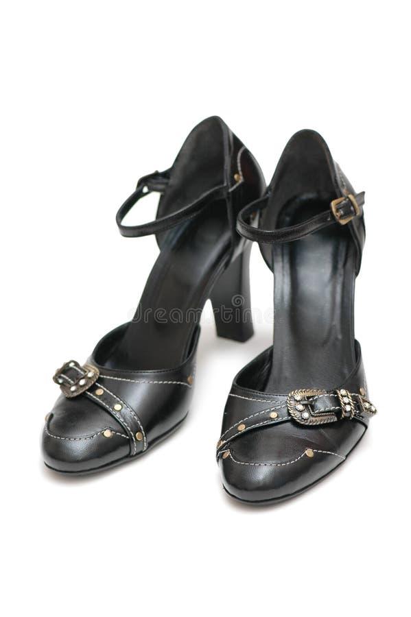 黑色皮革对鞋子 免版税库存照片