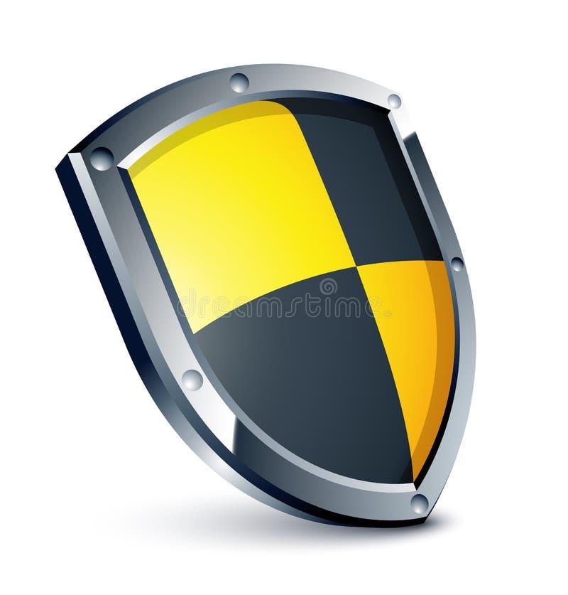黑色盾黄色 皇族释放例证