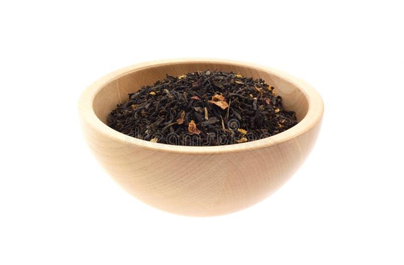 黑色碗茶木头 免版税库存照片