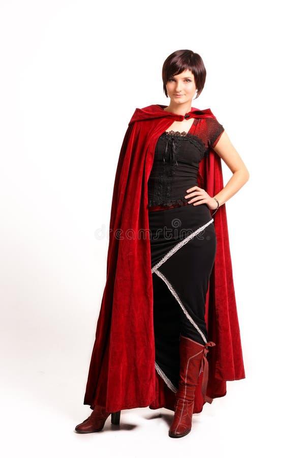 黑色礼服女孩红色 免版税库存照片