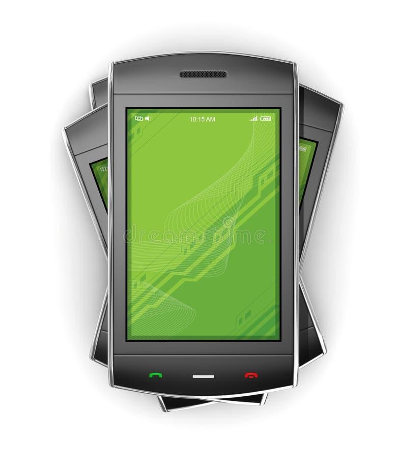 黑色移动smartphone白色 免版税库存图片