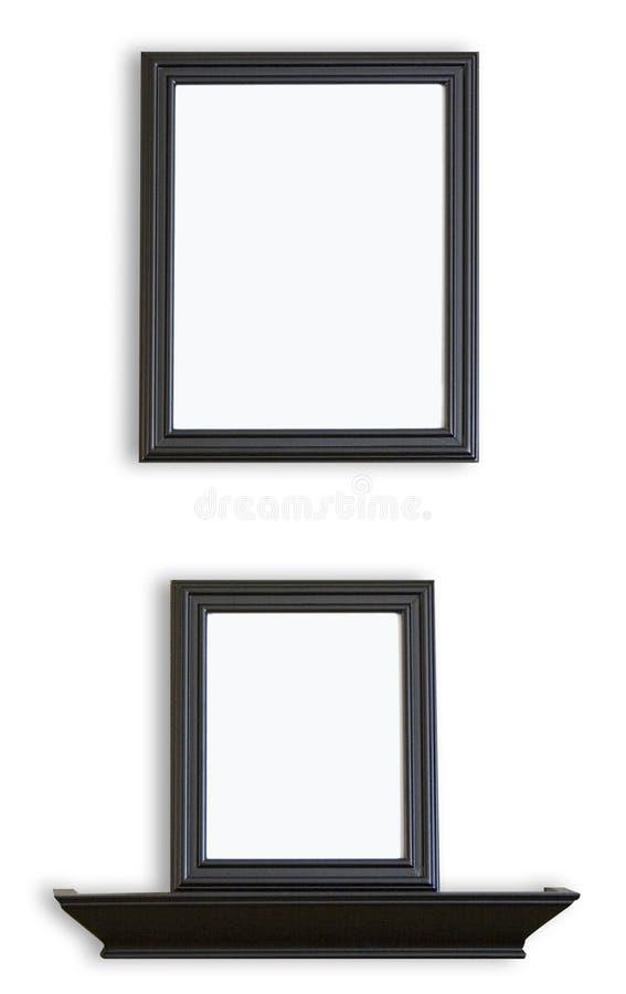 黑色空白框架生动描述架子 免版税库存照片