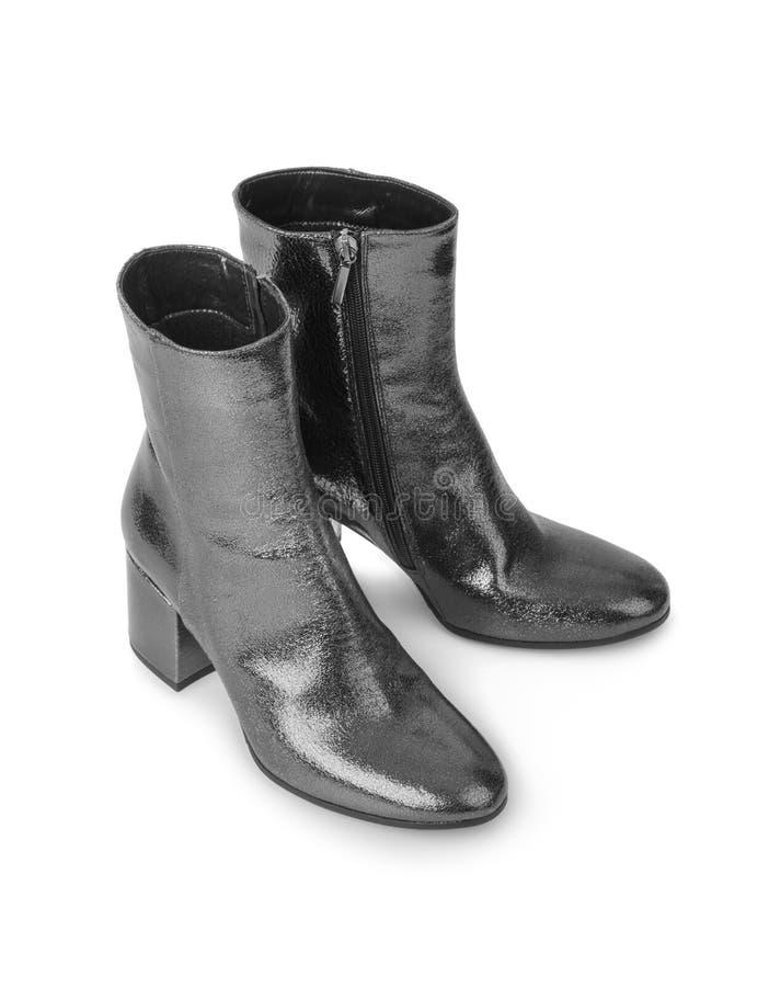 黑色穿上鞋子妇女 图库摄影