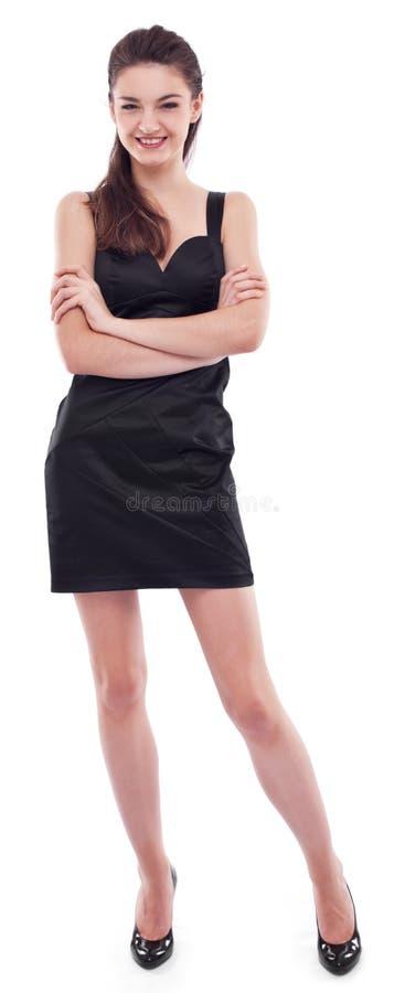 黑色穿戴了女孩年轻人 图库摄影