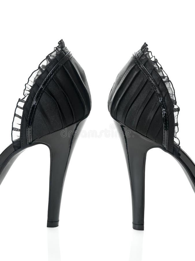 黑色精美详细脚跟高鞋带视图 库存照片