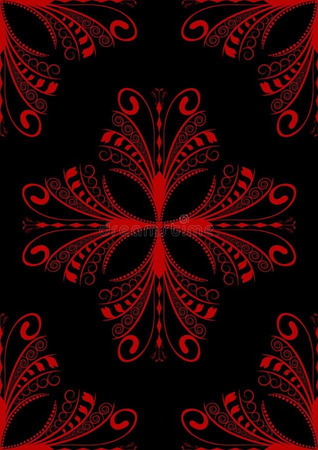 黑色红色无缝的葡萄酒婚礼 库存例证