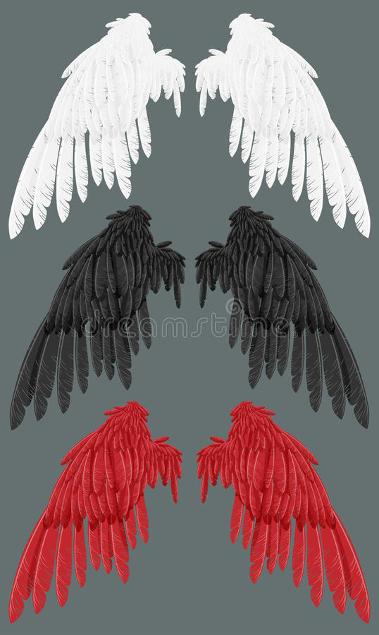 黑色红色空白翼 向量例证