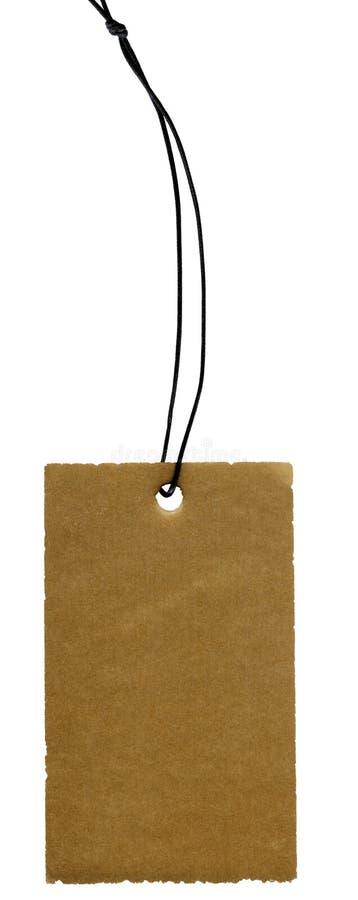 黑色纸盒查出的标签鞋带老白色 免版税库存照片