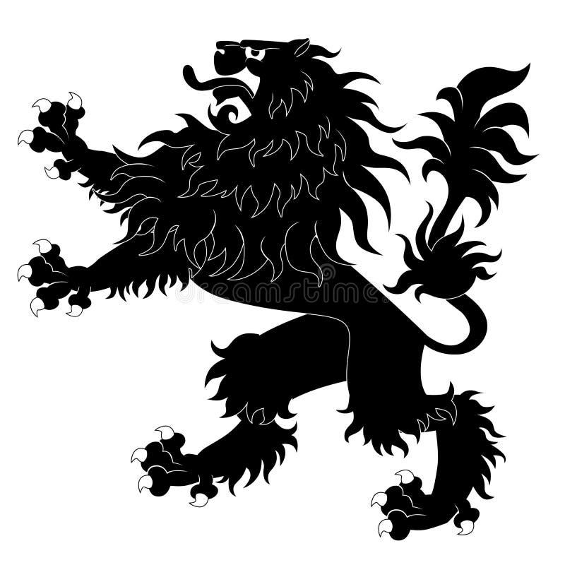 黑色纹章学狮子 皇族释放例证