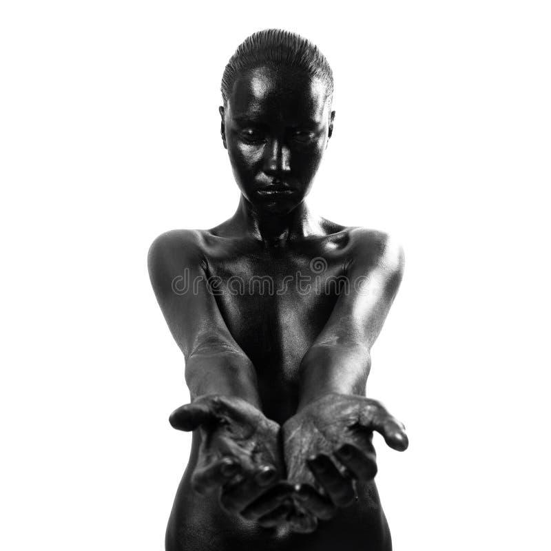 黑色组成妇女 免版税图库摄影