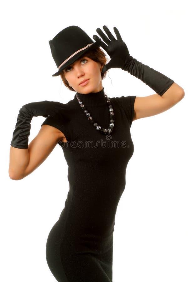黑色给女孩穿衣 库存照片
