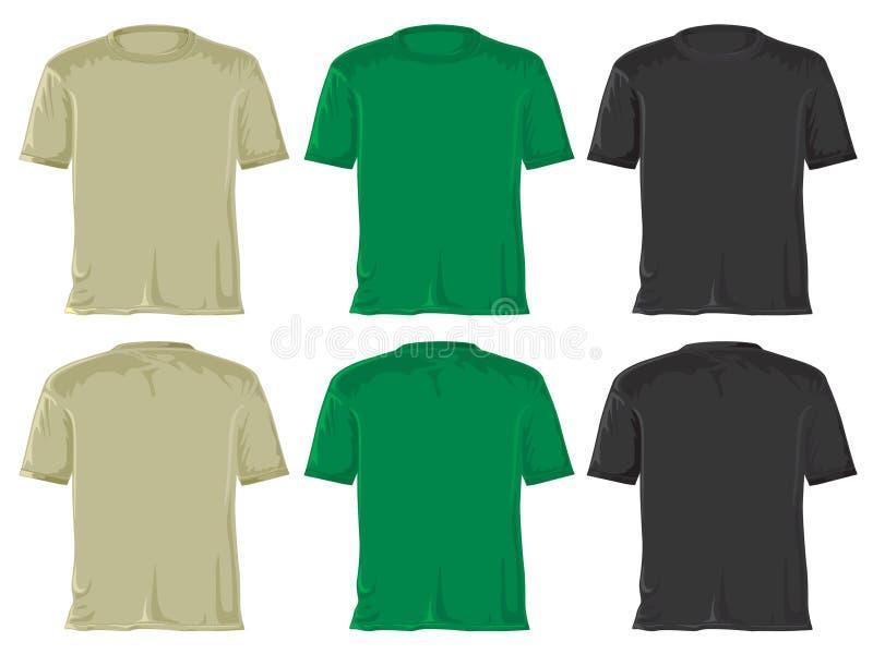 黑色绿色集合衬衣t 皇族释放例证