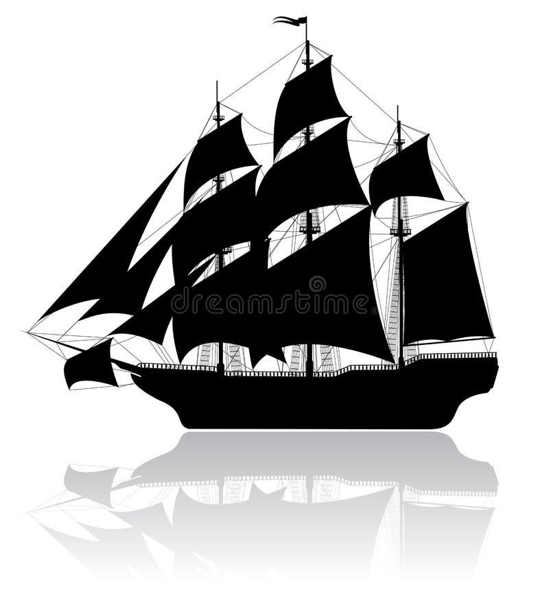 黑色老船 皇族释放例证