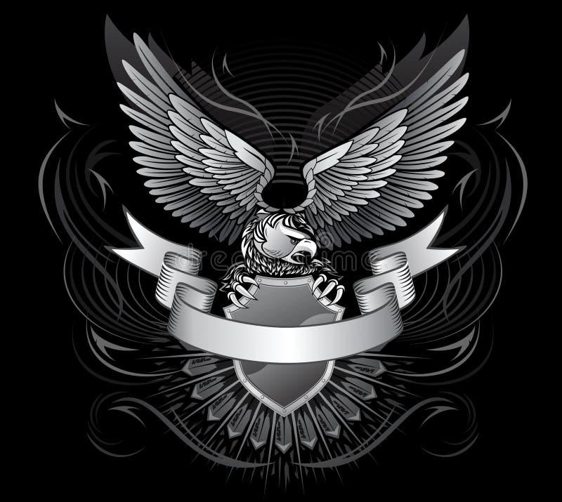 黑色老鹰白色飞过了 库存例证