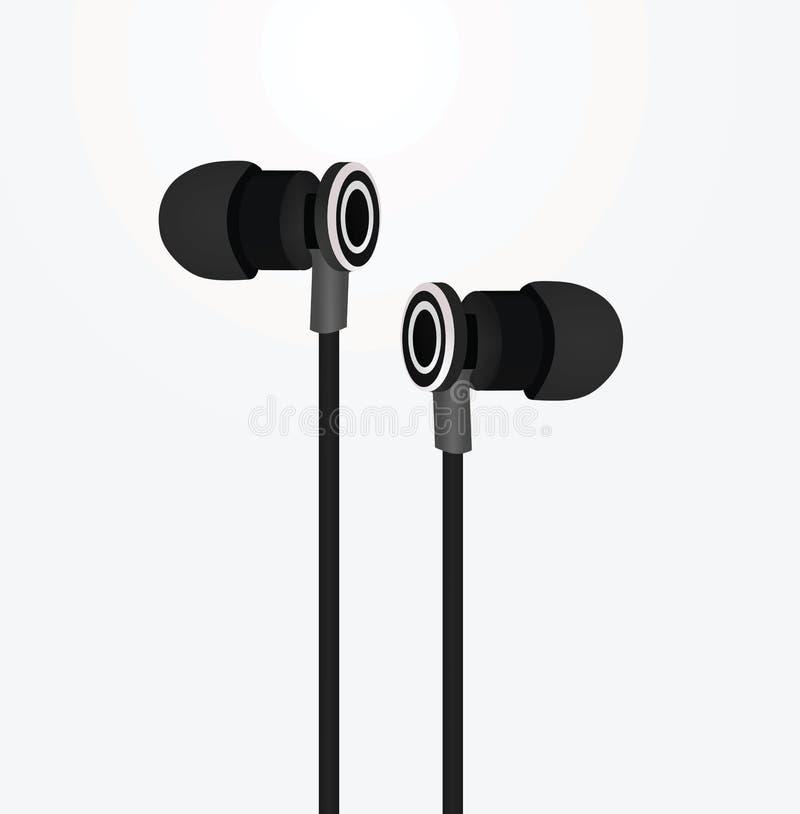 黑色耳机 库存例证