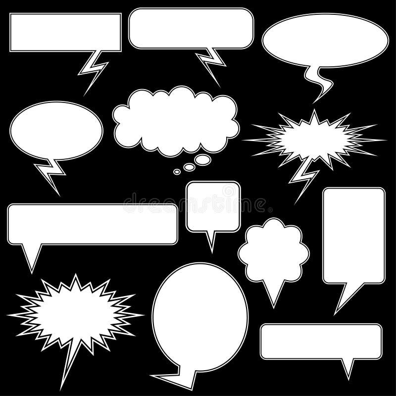 黑色聊天图标多个白色 库存例证