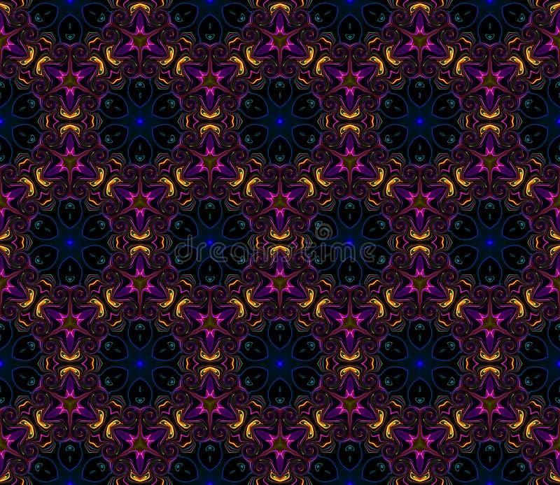 黑色背景上的抽象亮万花筒对称图案 库存例证