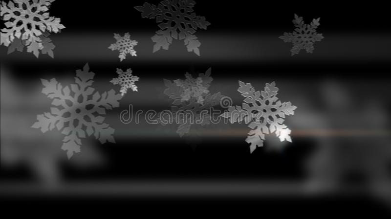 黑色背景上的白雪花动画 图库摄影