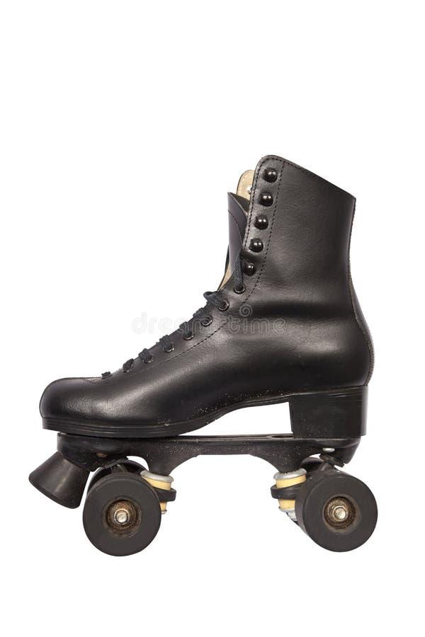 黑色脚跟云霄飞车冰鞋 库存图片