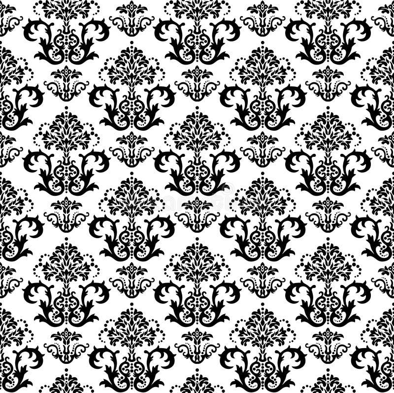 黑色花卉无缝的墙纸白色 库存例证
