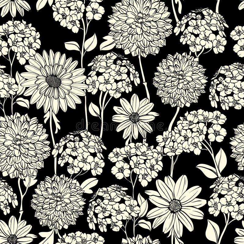 黑色花卉模式无缝的白色 向量例证
