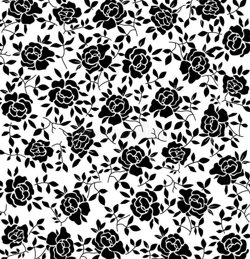 黑色花卉模式 向量例证