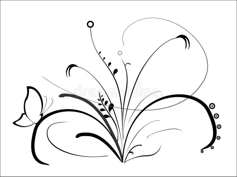 黑色花向量 向量例证