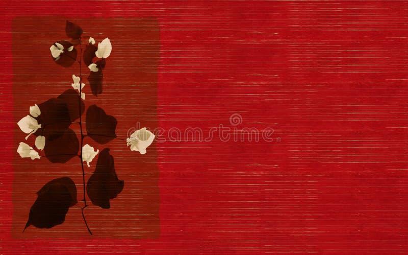 黑色花打印红色白色 库存例证