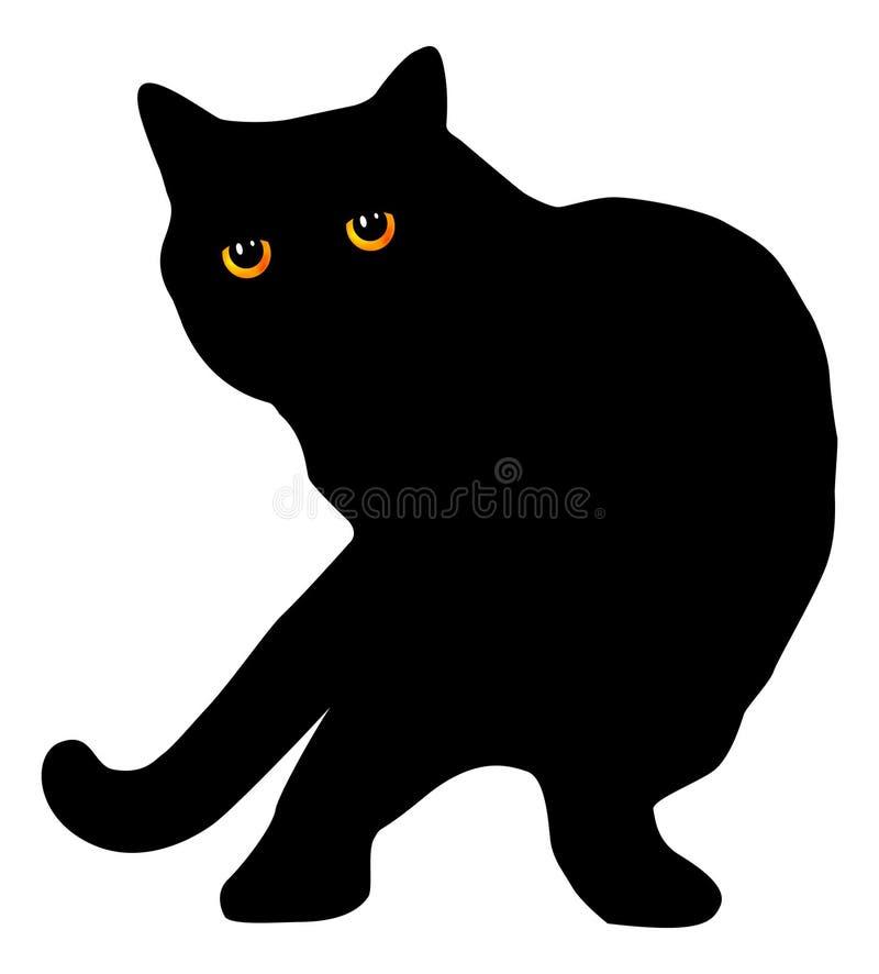 黑色英国猫头发的短的剪影 图库摄影