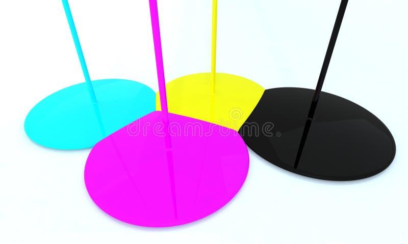 黑色蓝绿色紫红色黄色 库存例证