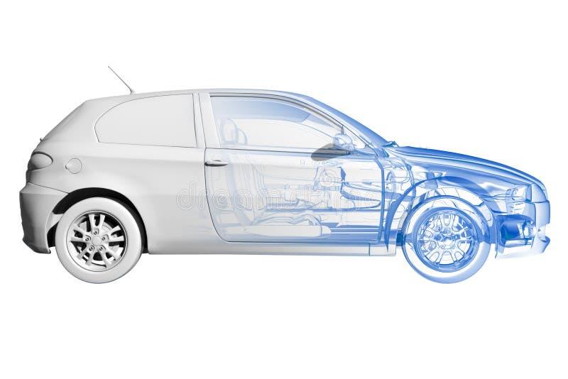 黑色蓝色汽车查出的白色 库存例证