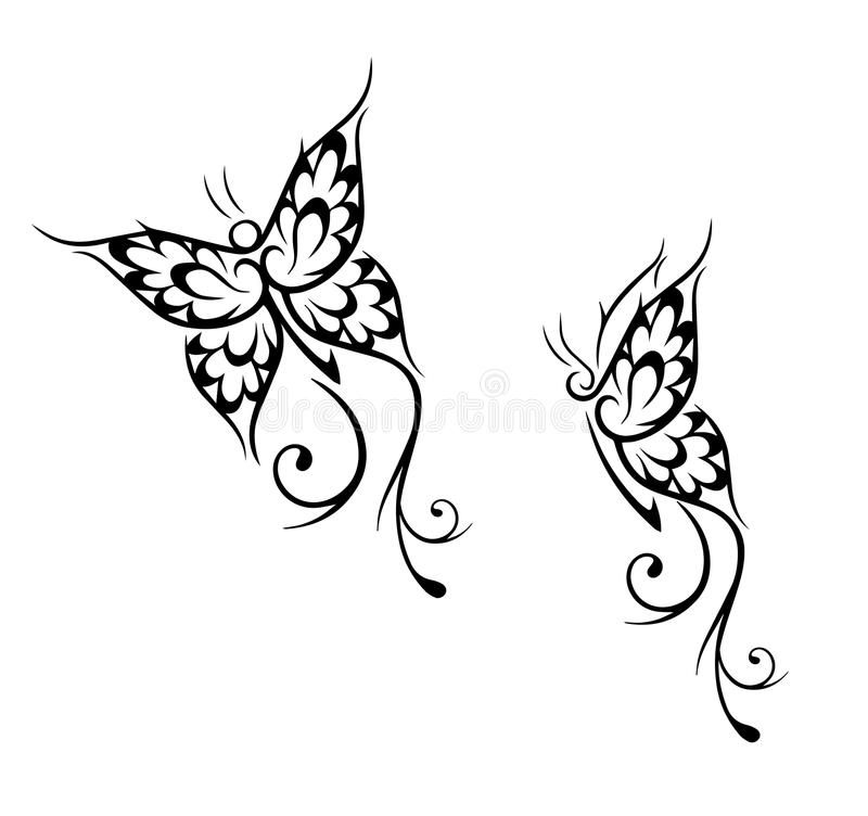 黑色蝴蝶例证查出对象纹身花刺向量白色 向量例证
