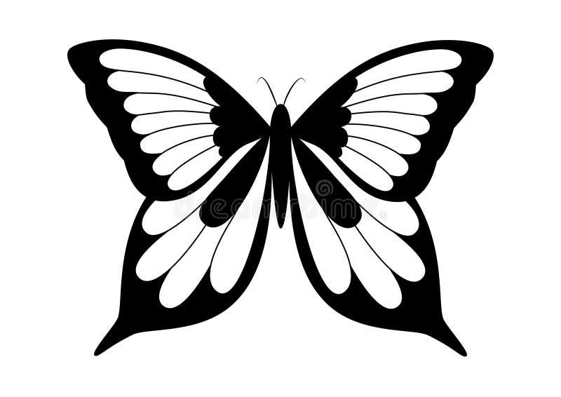 黑色蝴蝶典雅的白色 免版税库存照片