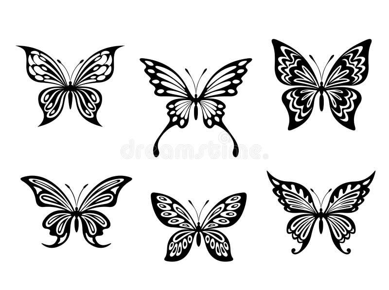 黑色蝴蝶纹身花刺 向量例证