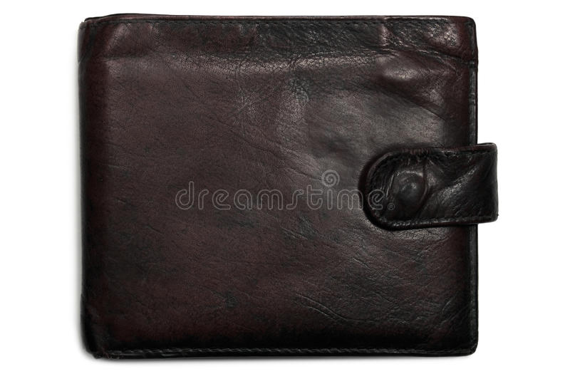黑色被佩带的grunge脏的皮革带红色钱包 免版税库存图片