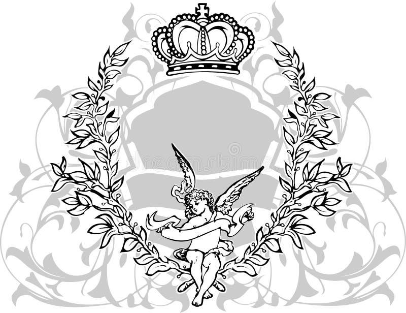 黑色被加冠的丘比特灰色白色 皇族释放例证