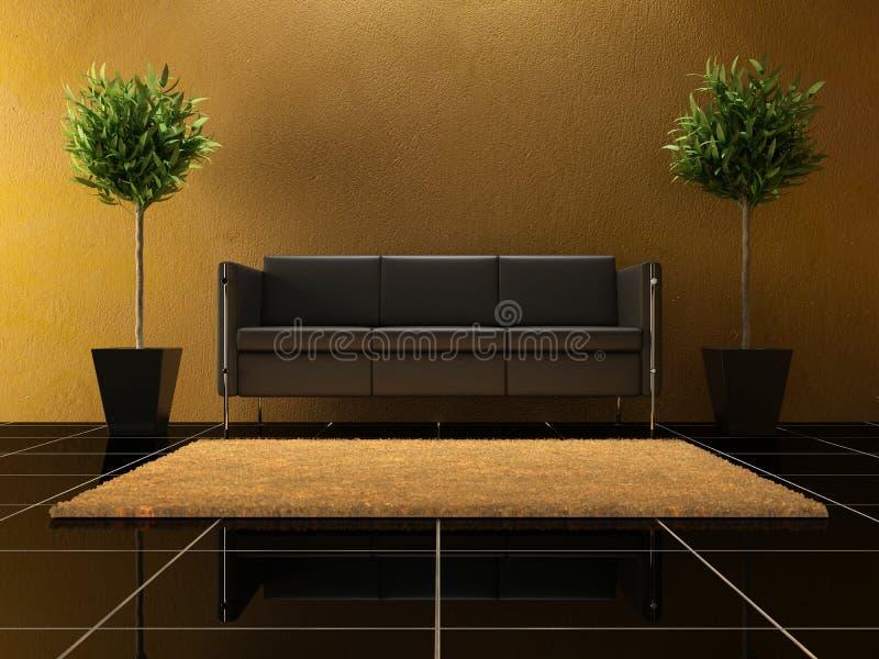 黑色设计内部沙发 免版税库存图片