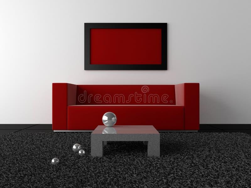 黑色设计内部金属红色 库存例证