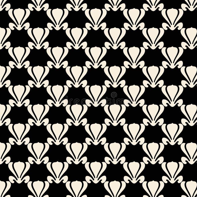 黑色设计莲花模式工厂重复白色 向量例证