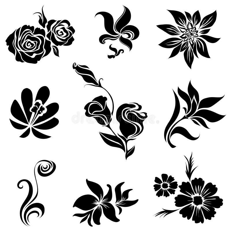 黑色设计要素开花集 皇族释放例证