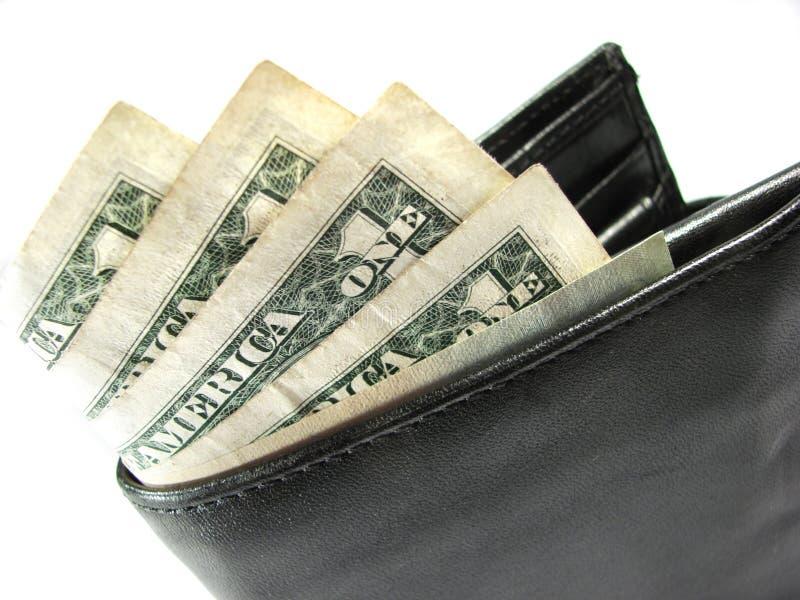 黑色货币纸张钱包 免版税库存照片